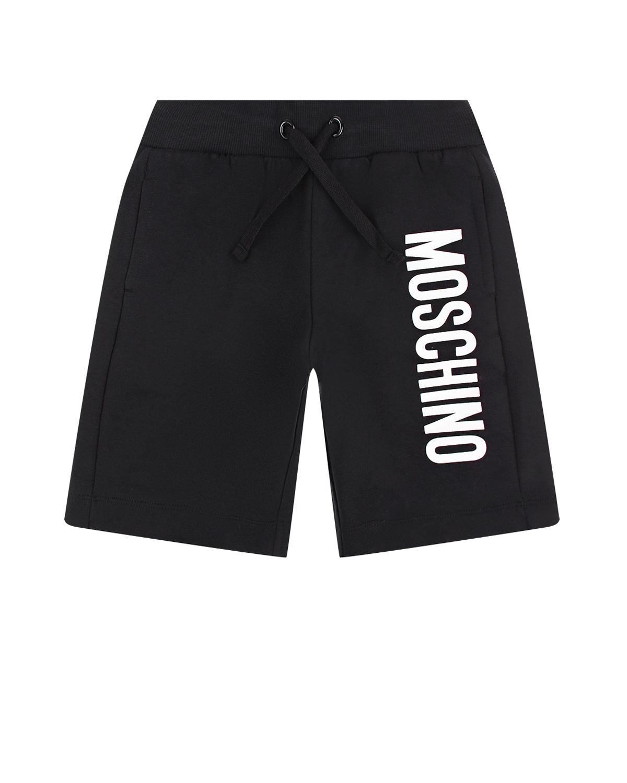 Черные бермуды с белым логотипом Moschino детские фото