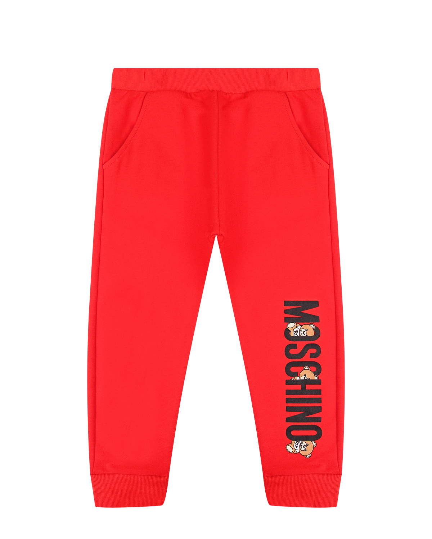 Красные спортивные брюки с логотипом Moschino детские фото
