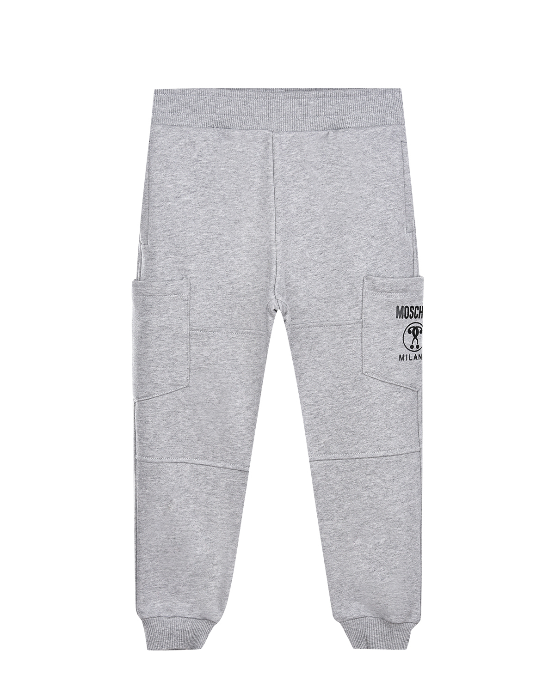 Купить Серые спортивные брюки с накладными карманами Moschino детские, Серый, 100%хлопок, 95%хлопок+5%эластан