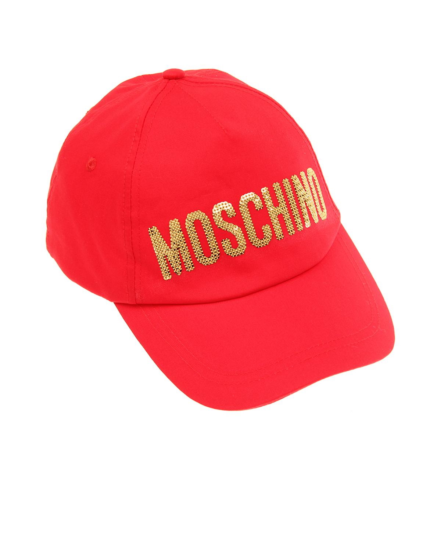 Купить Красная бейсболка со стразами Moschino детская, Красный, 100%хлопок, 100%полиэстер
