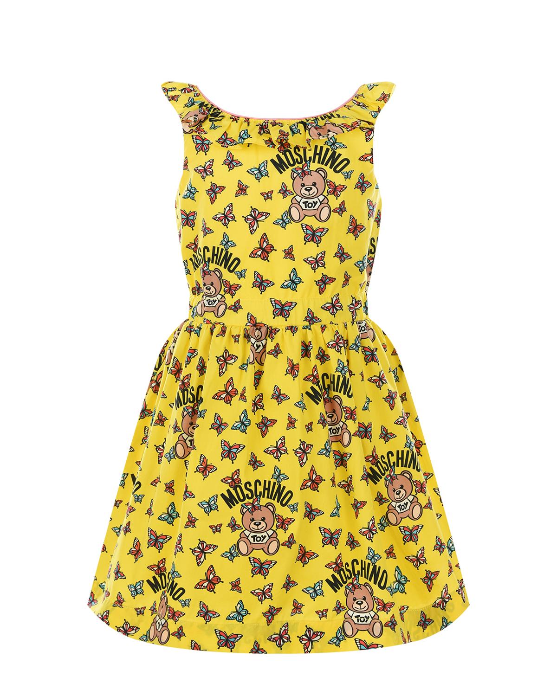 Желтое платье без рукавов Moschino детское фото