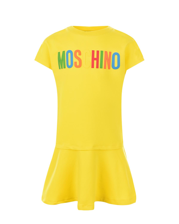 Купить Желтое платье с разноцветным логотипом Moschino детское, Желтый, 96%хлопок+4%эластан, 95%хлопок+5%эластан