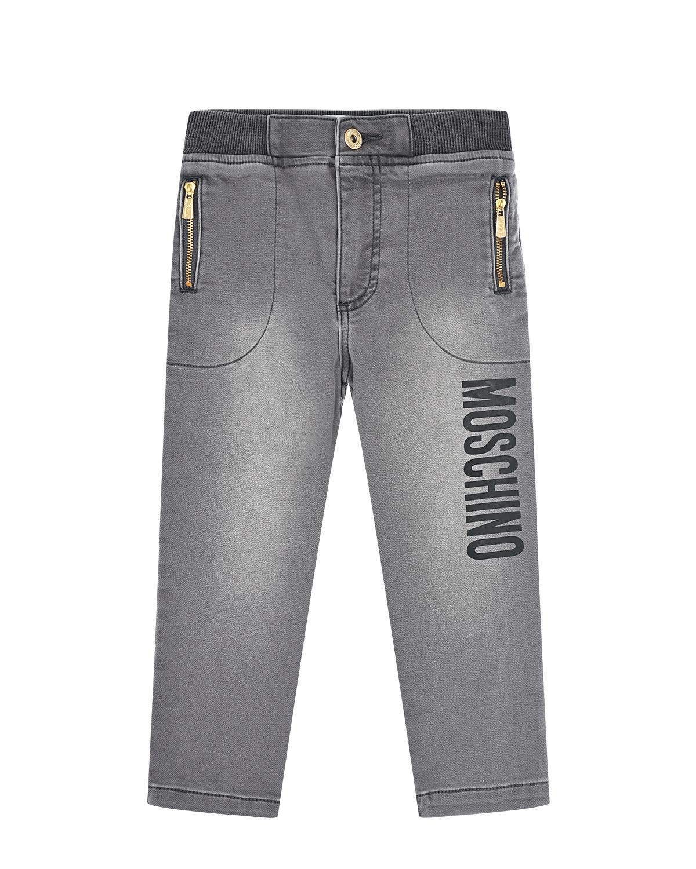 Серые джинсы из трикотажного денима Moschino детские фото
