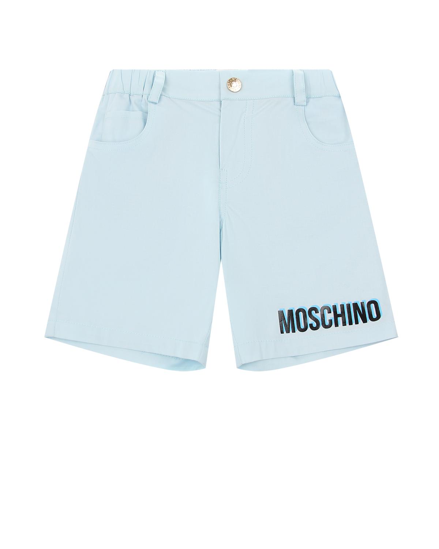 Купить Голубые шорты с логотипом Moschino детские, Голубой, 97%хлопок+3%эластан