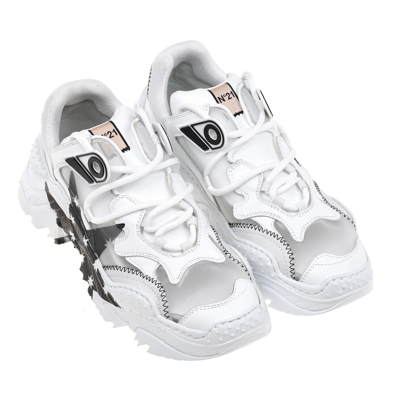 Купить Белые кроссовки с сетчатыми вставками №21 детские
