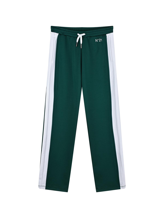 Купить Зеленые спортивные брюки с белыми лампасами No. 21 детские