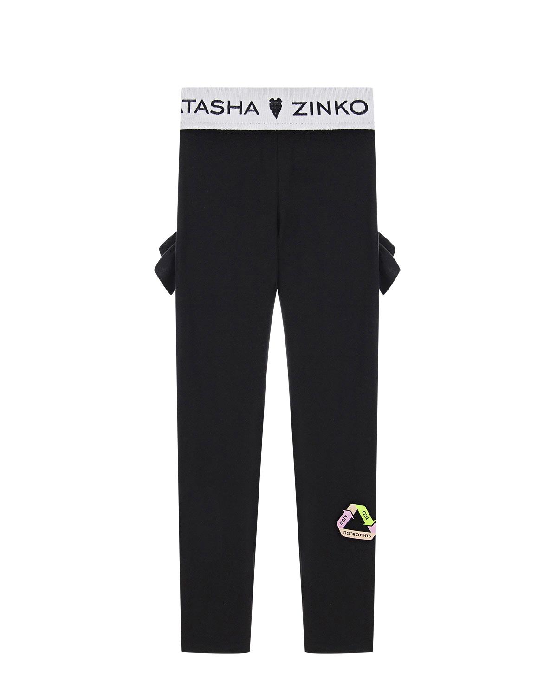 Купить Черные леггинсы с рюшами Natasha Zinko детские, Черный, 85%хлопок+15%эластан