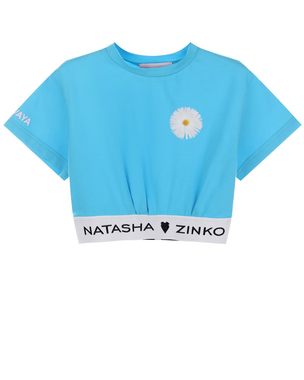 Голубой топ с цветочным декором Natasha Zinko детский фото