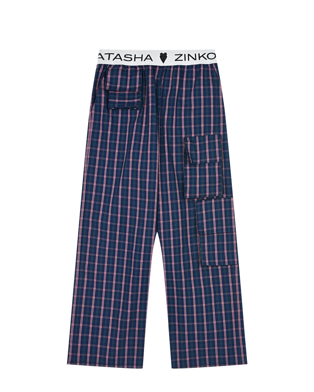 Купить Брюки в клетку с накладными карманами Natasha Zinko детские, Синий, 100%хлопок