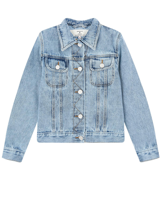 Голубая джинсовая куртка со смайликом Natasha Zinko детская фото