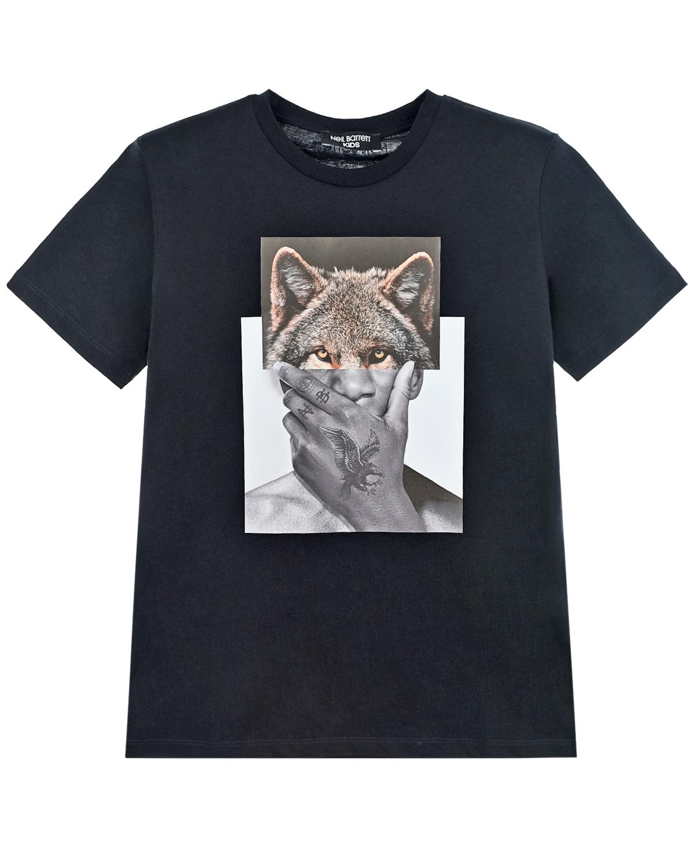 Купить Черная футболка с фотопринтом Neil Barrett, Черный, 100%хлопок