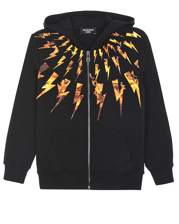 Купить Черная спортивная куртка с принтом молнии Neil Barrett детская, Черный, 100%хлопок