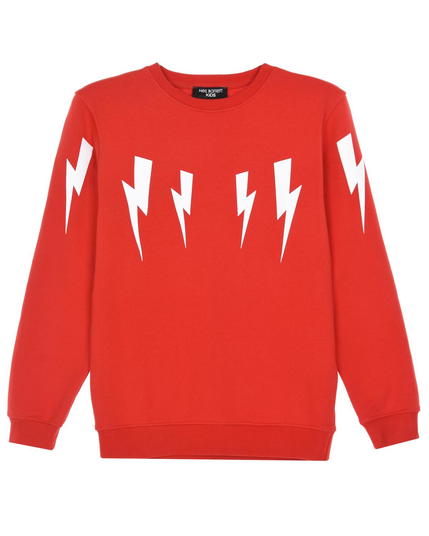 Купить Красный свитшот с принтом молнии Neil Barrett детский, 100%хлопок