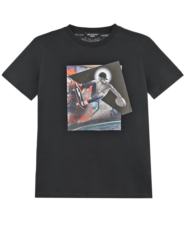 Купить Черная футболка с принтом Скейтбордист Neil Barrett детская, Черный, 100%хлопок
