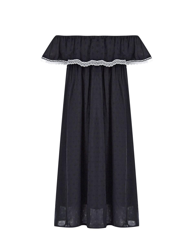Черное платье с открытой линией плеч Paade Mode детское фото