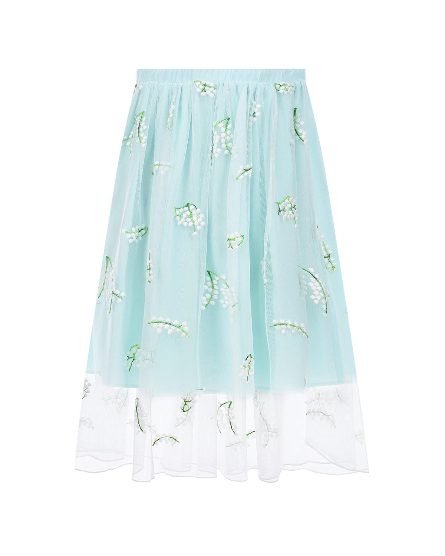 Бирюзовая юбка с ландышами Paade Mode детская фото