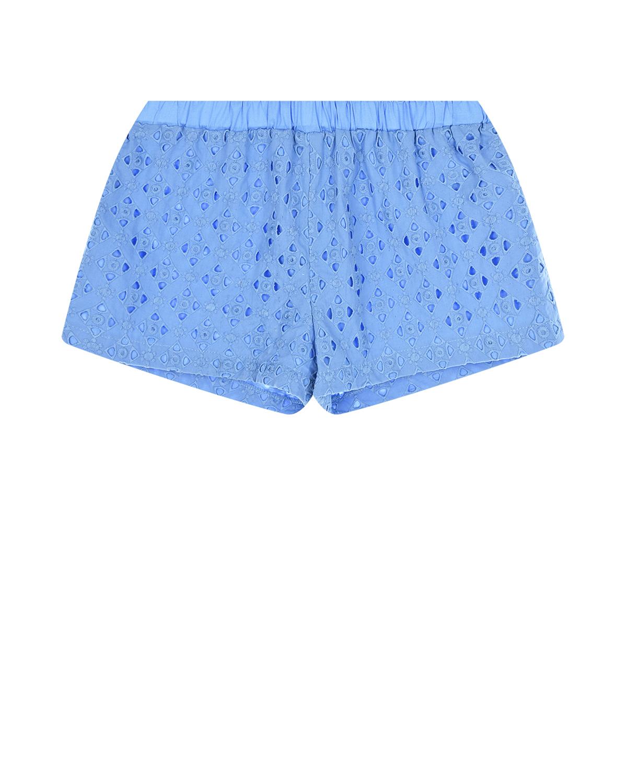 Голубые шорты с английской вышивкой Paade Mode детские фото