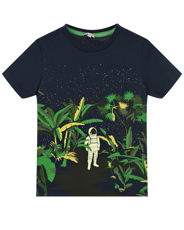 """Футболка с принтом """"космонавт в лесу"""" Paul Smith детская фото"""