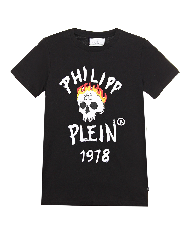 футболка с принтом philipp plein для мальчика