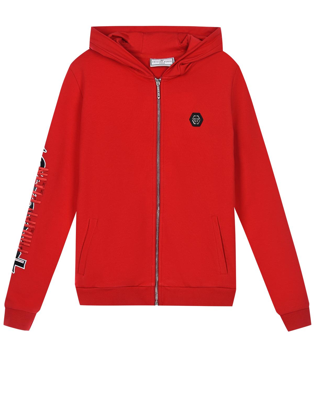 Купить Красная спортивная куртка с логотипом на рукаве Philipp Plein детская