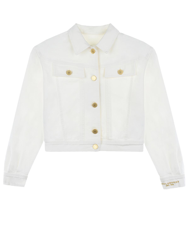 Джинсовая куртка с золотистыми пуговицами Philosophy детская фото