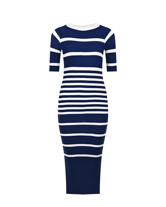 Синее платье для беременных в белую полоску Pietro Brunelli синего цвета