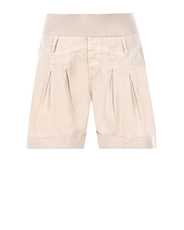Купить Бежевые шорты для беременных Pietro Brunelli, Бежевый, 55%лен+43%хлопок+2%эластан, 98%хлопок+2%эластан