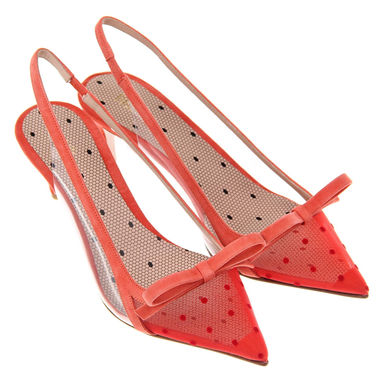 Купить Красные туфли лодочки с замшевой отделкой Red Valentino, Нет цвета, верх:100%натур.кожа, полим.материалы, подкладка:100%натур.кожа, подошва:100%натур.кожа
