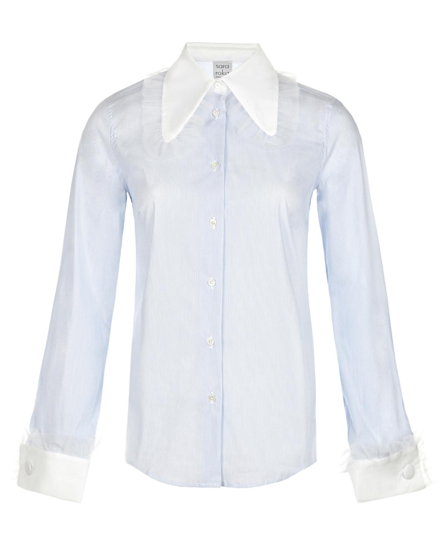 Купить Рубашка в тонкую бело-голубую полоску Sara Roka, Белый, 72% хлопок+25% полиамид+3% эластан, 100%хлопок, 100%полиамид