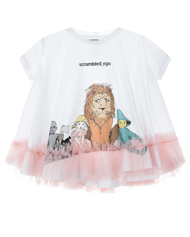 Купить Белая футболка с розовыми оборками Scrambled Ego детская, Мультиколор, 100%хлопок+отделка полиамид