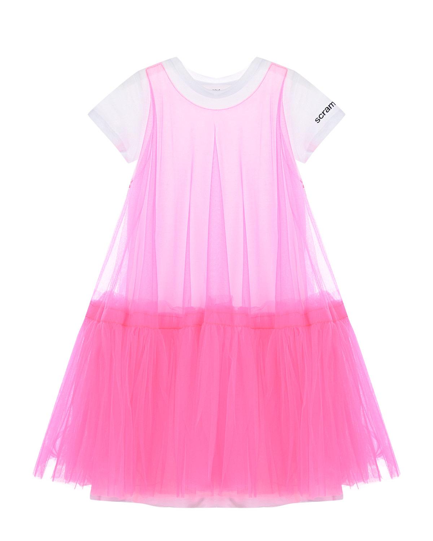 Платье-футболка цвета фуксии Scrambled Ego детское фото
