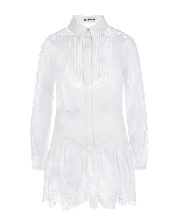 Купить Платье-рубашка с кружевной отделкой Self Portrait, Белый, 100%хлопок, 65%полиамид+35%хлопок, 100%полиамид, 100%полиэстер
