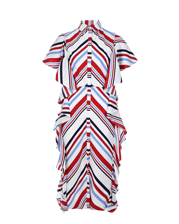 Купить Платье с рюшами и геометрическим принтом Stella Jean, Белый, 88%вискоза+12%полиамид, 100%вискоза