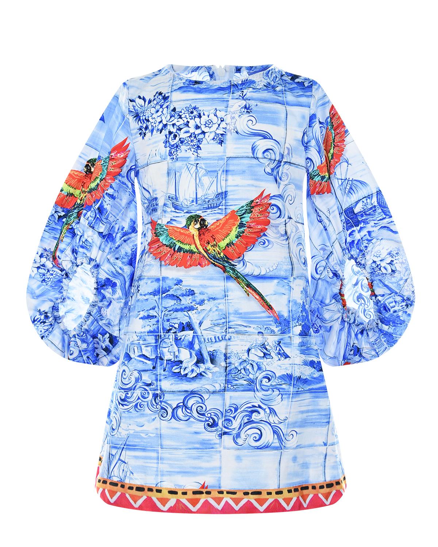 Купить Голубое платье с принтом попугаи Stella Jean детское, Мультиколор, 100%хлопок