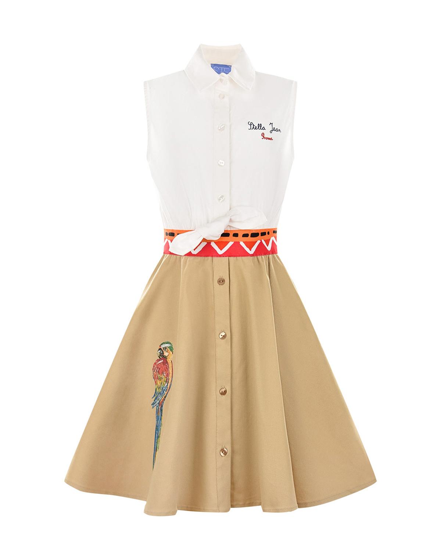 Купить Платье с вышивкой пайетками попугай Stella Jean детское, Мультиколор, 97%хлопок+3%эластан, 100%хлопок