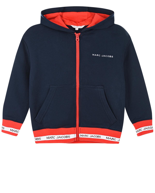Купить Темно-синяя спортивная куртка с капюшоном Little Marc Jacobs детское, Синий, 100%хлопок, 86%хлопок+12%полиэстер+2%эластан