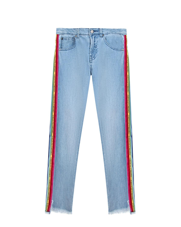 Купить Голубые джинсы с радужными лампасами Stella McCartney детские, Голубой, 100%хлопок, 99%хлопок+1%эластан, 100%полиэстер