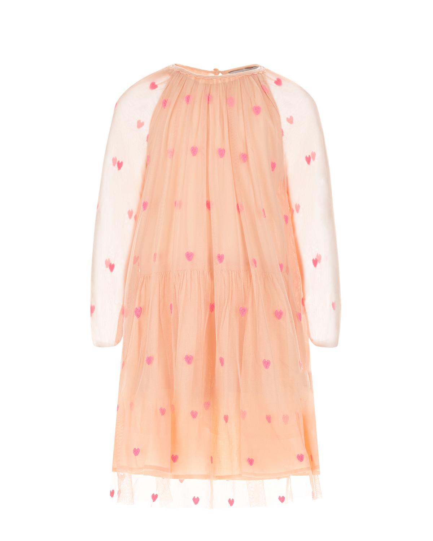 Купить Платье с принтом сердца Stella McCartney детское, Мультиколор, 100% полиэстер, 100% хлопок