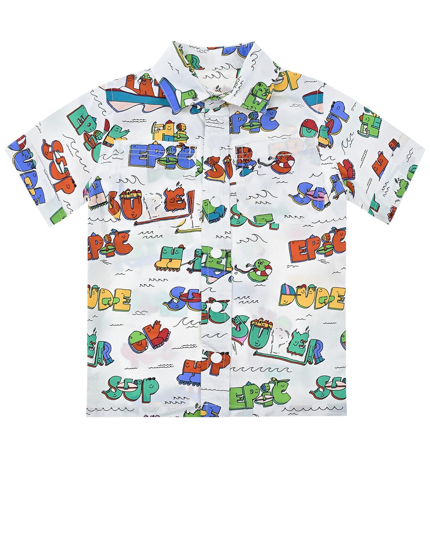 Белая рубашка с разноцветными надписями Stella McCartney детская фото