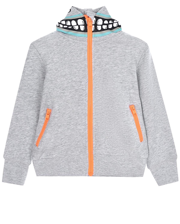 Купить Серая спортивная куртка с капюшоном Stella McCartney детская, Серый, 100% хлопок, 99%хлопок+1%эластан
