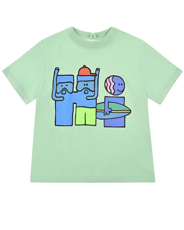 """Зеленая футболка со стилизованной надписью """"Hi"""" Stella McCartney детская фото"""