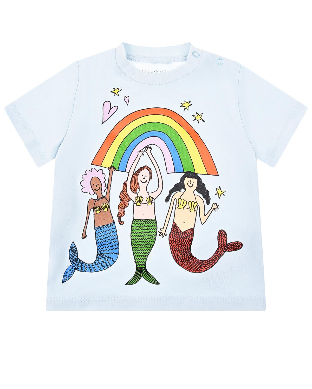 """Голубая футболка с принтом """"русалки"""" Stella McCartney детская фото"""