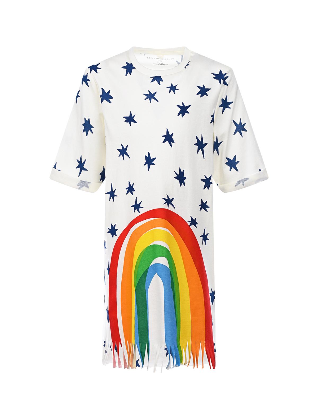 Купить Платье-футболка с принтом звезды и радуга Stella McCartney детское, Белый, 100%хлопок, 92%хлопок+8%эластан