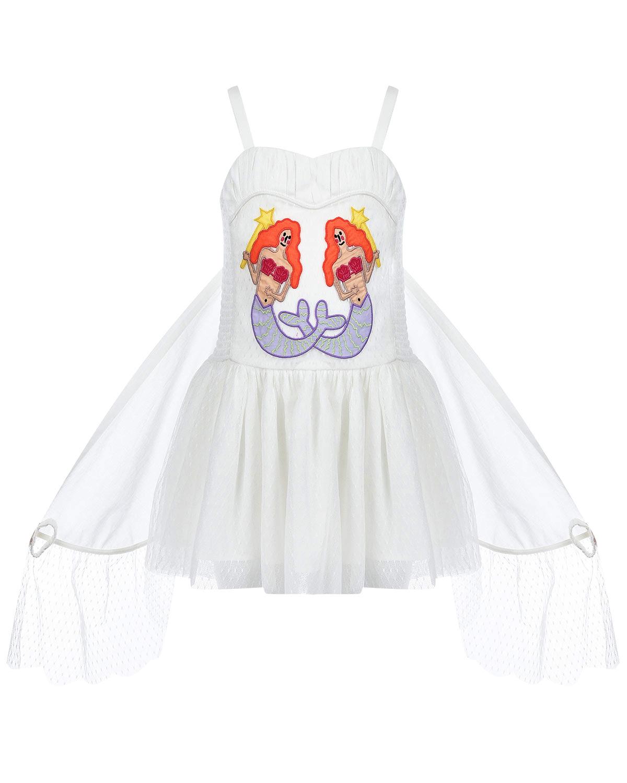 Купить Белое платье с вышивкой русалки Stella McCartney детское, Белый, 100%полиэстер, 100%хлопок