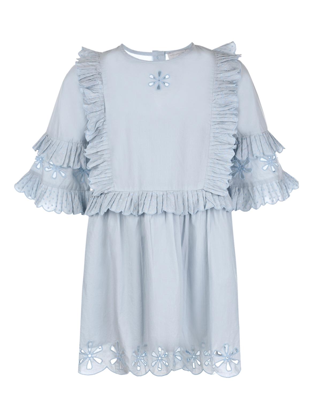 Купить Голубое платье с рюшами Stella McCartney детское, Голубой, 100%хлопок