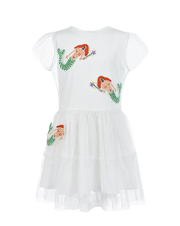 Купить Белое платье с короткими рукавами и вышивкой русалки Stella McCartney детское, Белый, 100%полиэстер, 100%хлопок