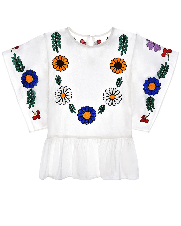 Белая блуза с вышивкой Stella McCartney детская фото