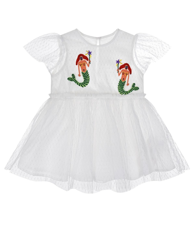 """Белое платье с вышивкой """"русалки"""" Stella McCartney детское фото"""