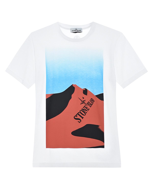 Хлопковая футболка с принтом Stone Island.