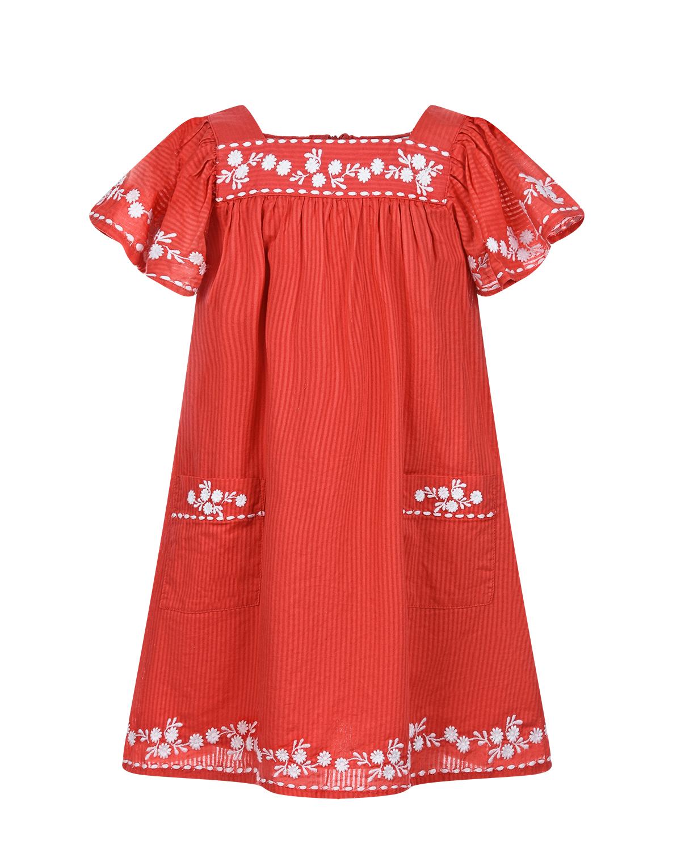 Купить Красное платье с вышивкой Tartine et Chocolat детское, Красный, 100%хлопок